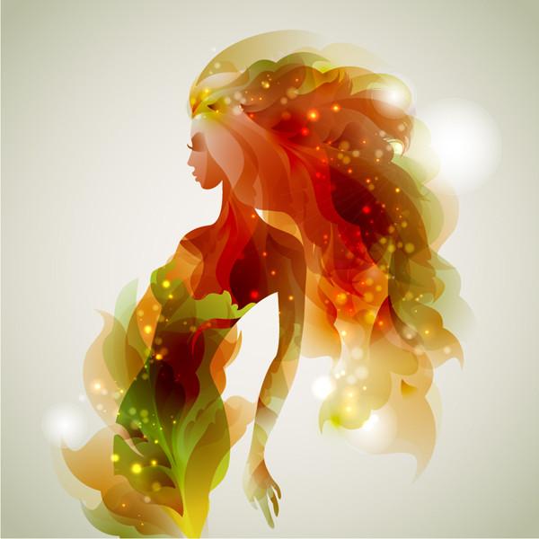 淡い光で型どった女性のシルエット fantasy beauty halo spot