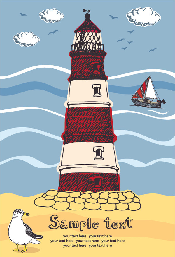 灯台とカモメ Lighthouse seagulls illustration style