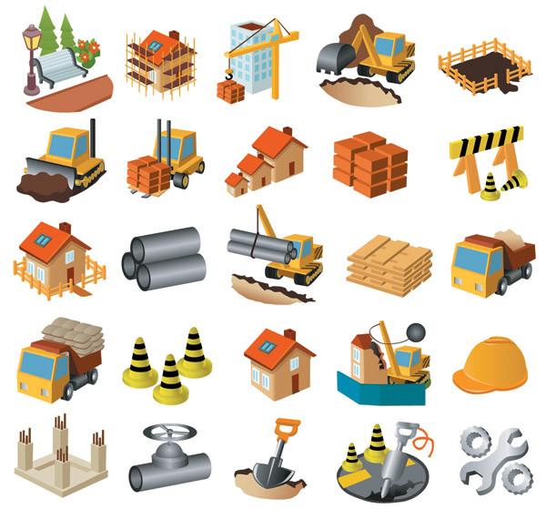 建築現場のクリップアート architectural theme icon vector
