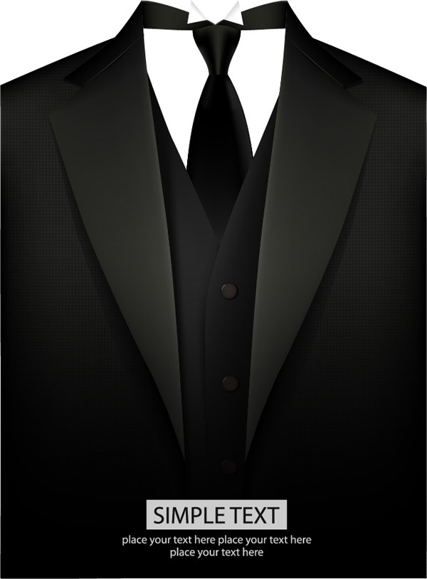 黒服 礼服のイラスト illustration of black suit vector