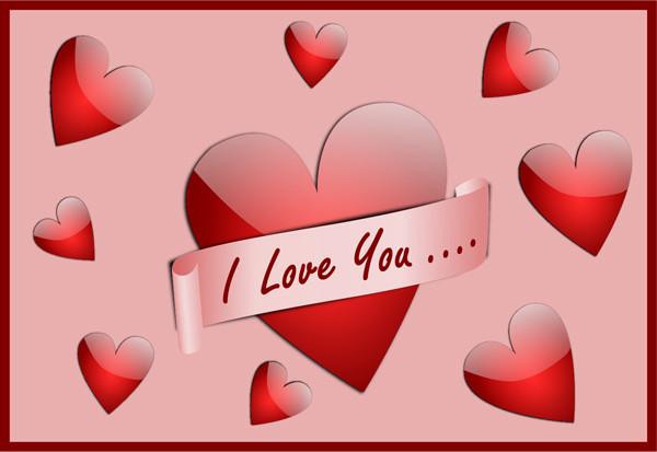 愛を表す光沢あるハート型 clip art I Love You Card
