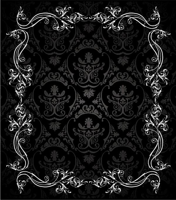 落ち着いた黒いレース飾りの背景 european gorgeous lace vector