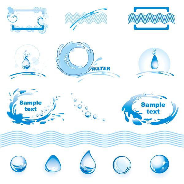 清らかな水を題材にしたクリップアート water theme logo graphics vector