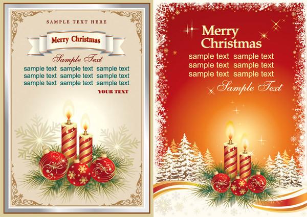クリスマスキャンドルをデザインした背景 beautiful christmas cards vector