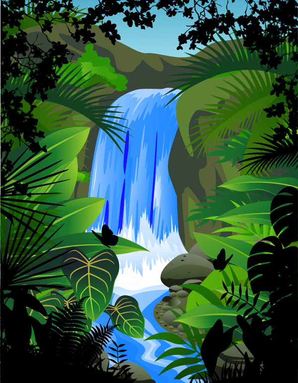 植物に囲まれた滝 waterfalls plants green leaves vector