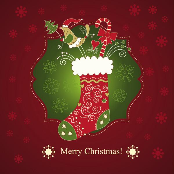 クリスマスプレゼントの靴下の背景 beautiful christmas greeting card