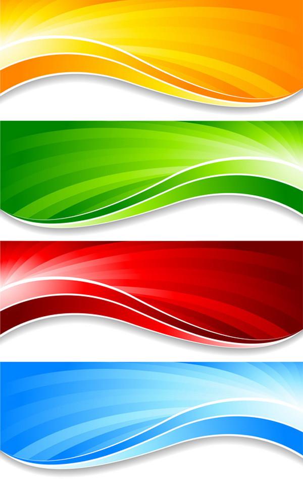 優雅に波打つカラフルなバナー flow lines colorful banner