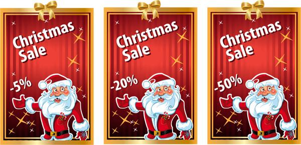 サンタクロースのクリスマスセール タグ christmas cards with the tag vector