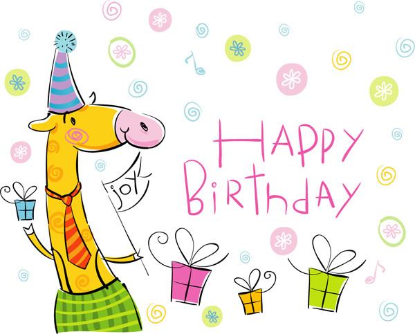 可愛い誕生日カードのテンプレート cute cartoon happy birthday1