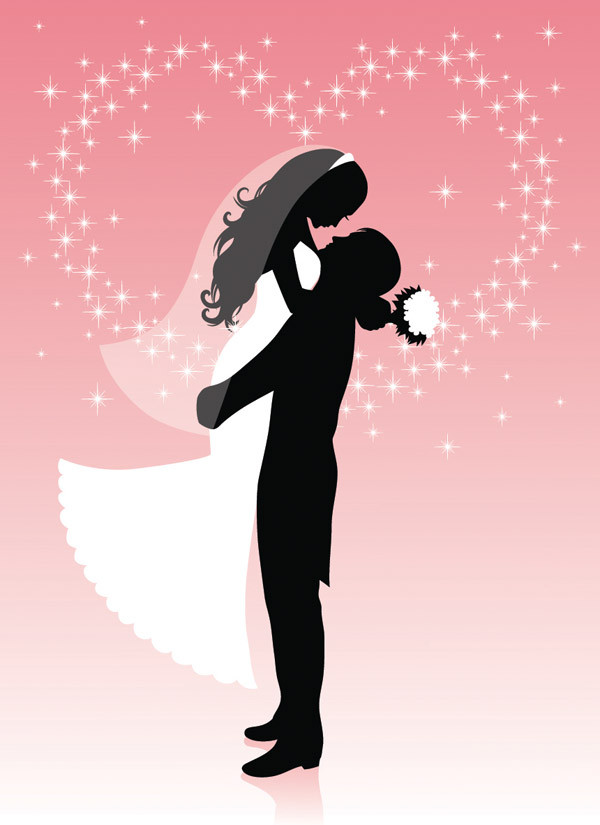 結婚式のシルエット people wedding silhouette vector3