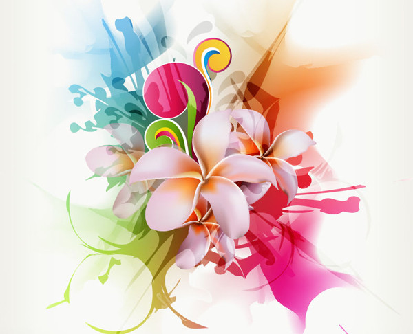 優雅な花ビラの背景 Abstract Floral Vector Illustration Artwork