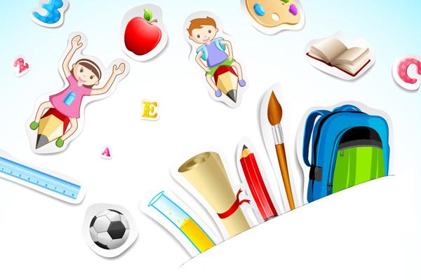 文房具の背景 school background stationery items1