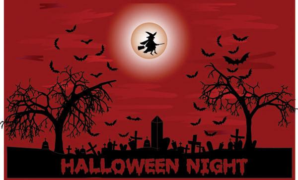 恐ろしいハロウィンの夜の背景 halloween night dead trees1