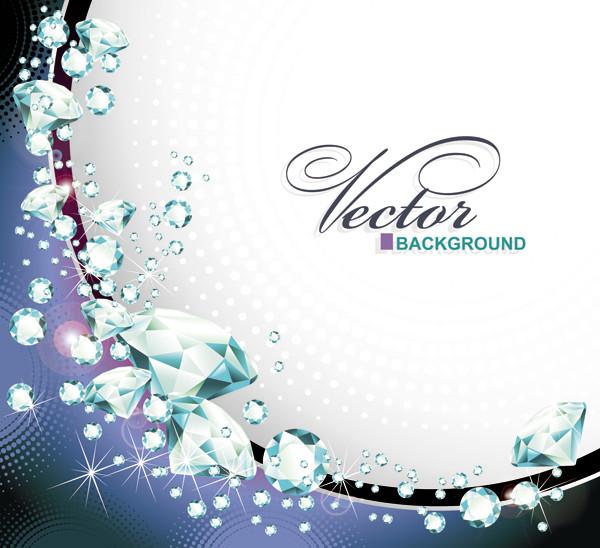 輝くダイヤモンドの背景 Bright diamonds gems vector