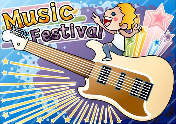 ギターの音楽ポスター Cartoons music illustrations guitars posters