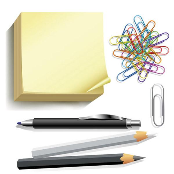 筆記用具のクリップアート pencil notebook office supplies3