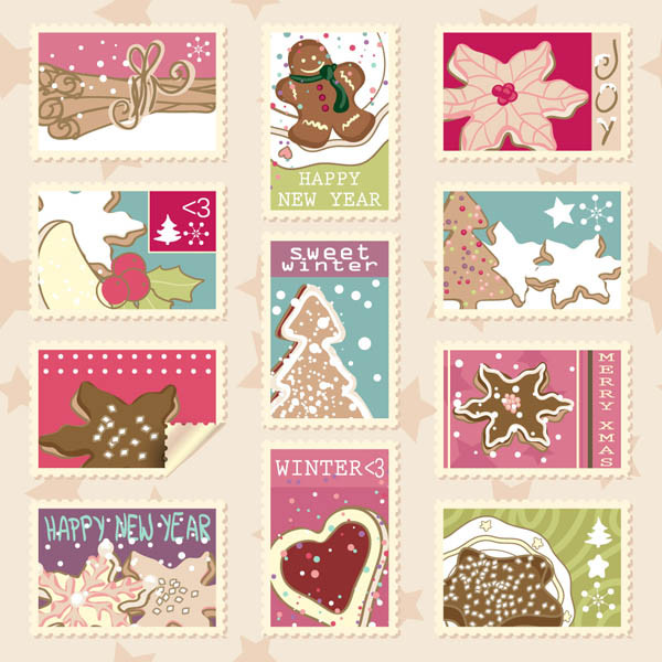 エレガントなクリスマス スタンプ elegant christmas stamp vector1