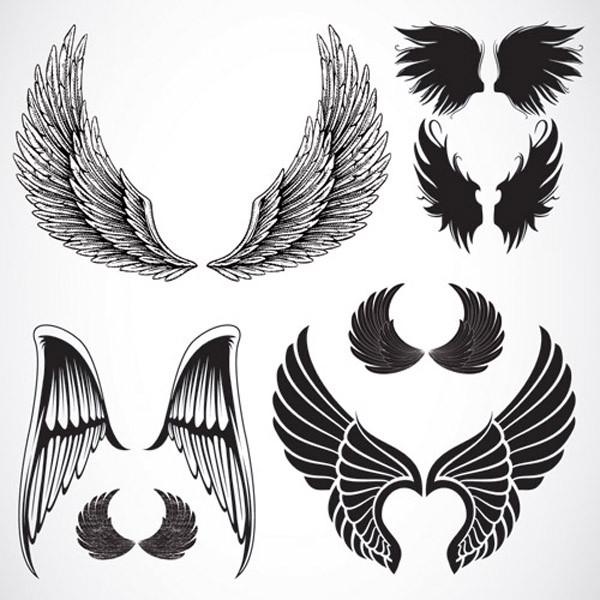 美しい翼のクリップアート variety of wings vector3