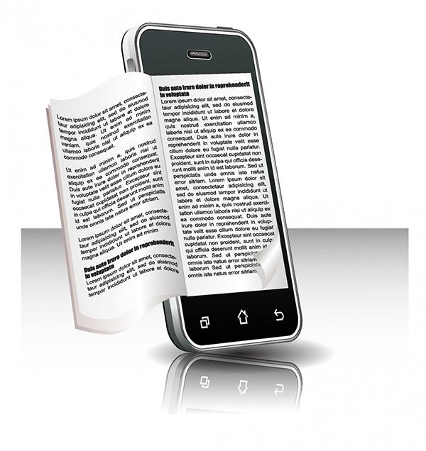 スマートフォンで電子書籍を読むイメージ Ebook in smart phone