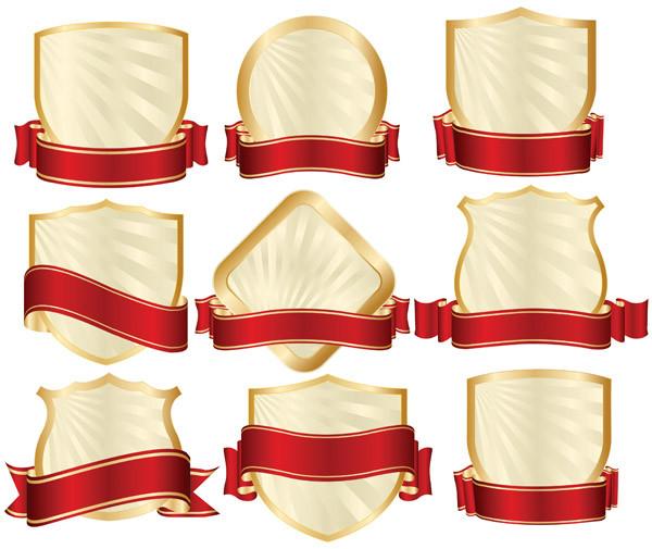 金縁の盾に赤いリボン飾りのバナー red ribbon gold-rimmed shield banner2