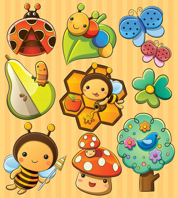昆虫と自然の漫画アイコン Cute cartoon insects