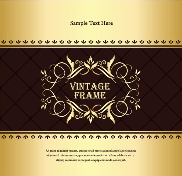 金色が豪華な古典的背景 Classic gold pattern frame