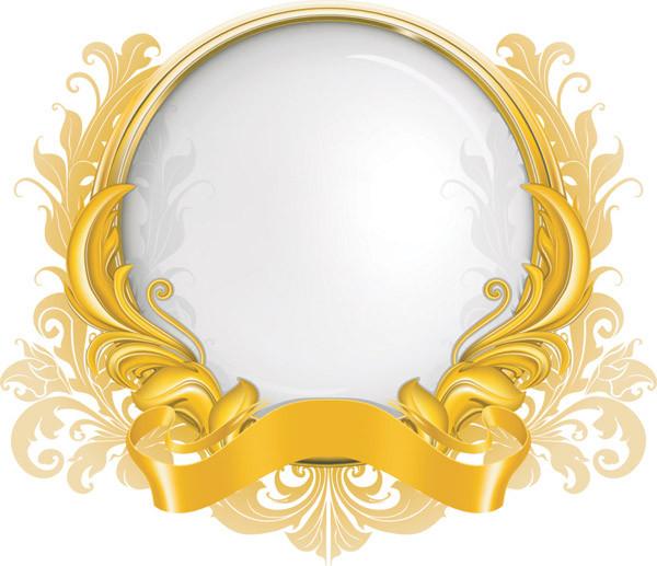 お洒落なリボン飾りの美しい球体 gold ribbon graphics pattern2