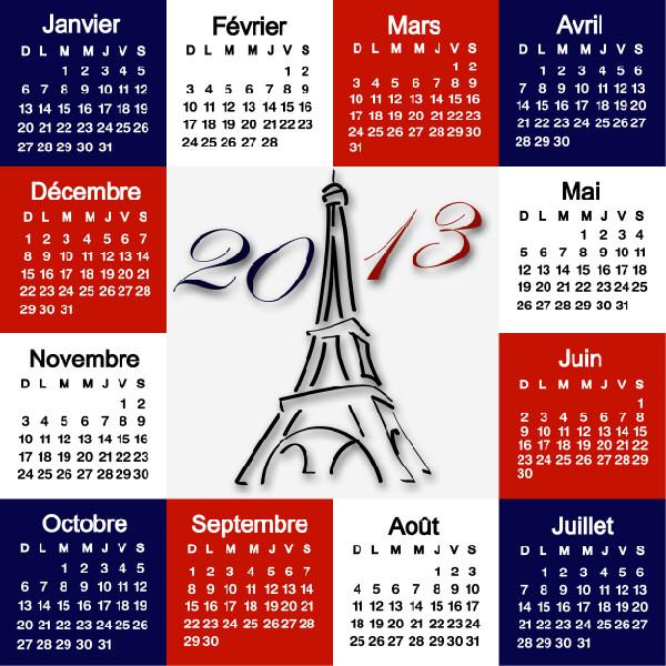 新年のカレンダー テンプレート 2013 New Year calendar grids5