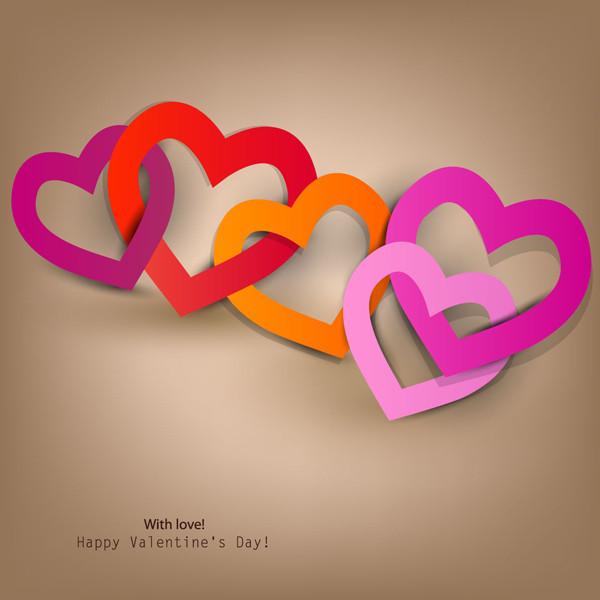 ハートのリングを重ねたバレンタインデー背景 Heart valentine label elements