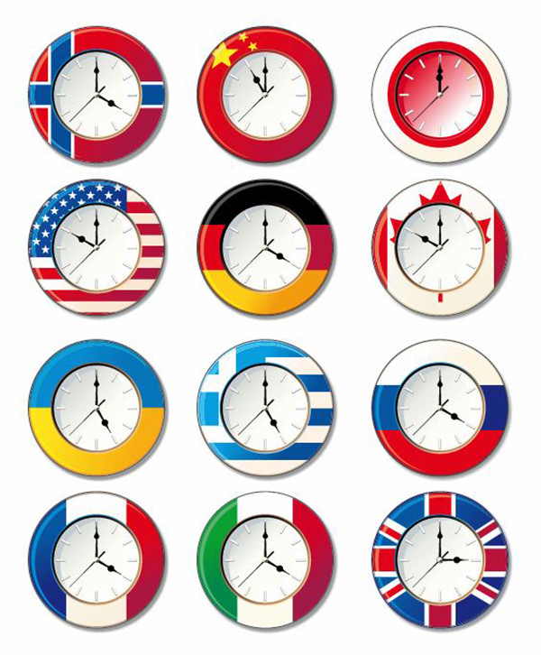 国旗をデザインした時計 Vector Clock with Different National Flags