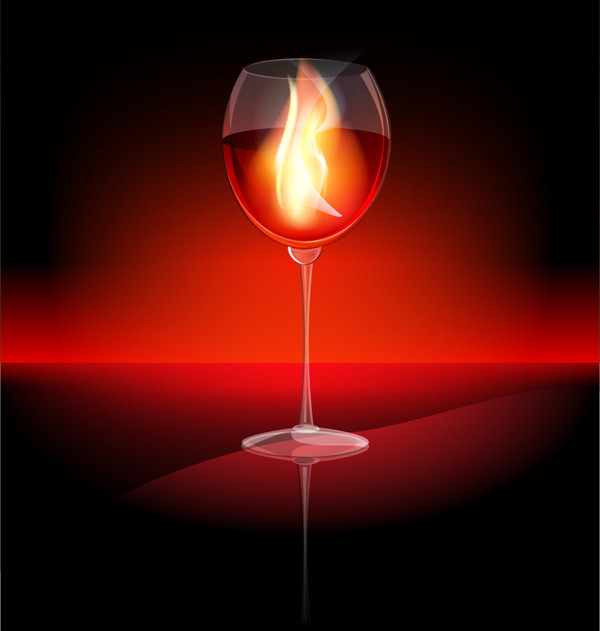 ワイングラスの炎 wine glass flame vector material