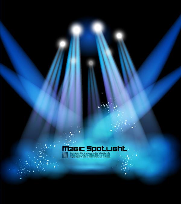 スポットライトの舞台照明 Stage lighting special effects spotlights Stars Vector