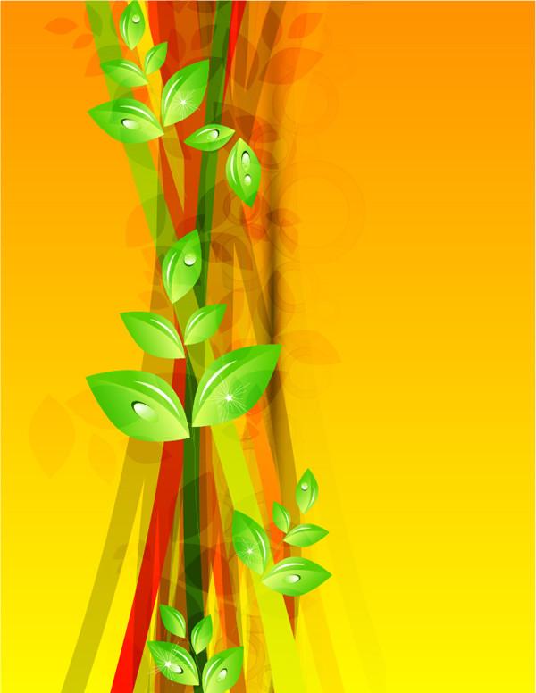 水滴の付いた新緑の背景 Abstract Green Floral Vector Background
