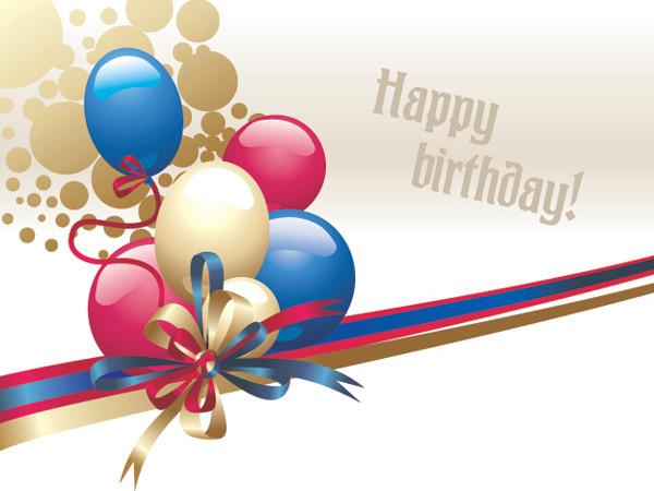 風船とリボンの誕生日飾り balloon ribbon bow vector