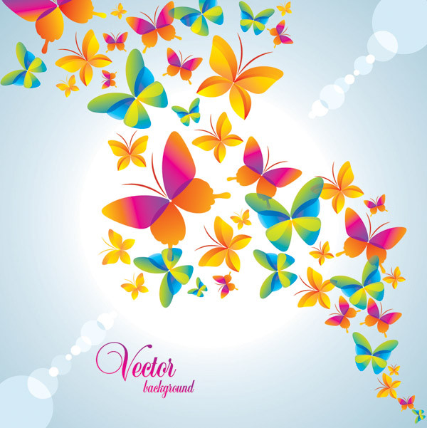 カラフルな蝶が舞う背景 colorful butterfly background vector