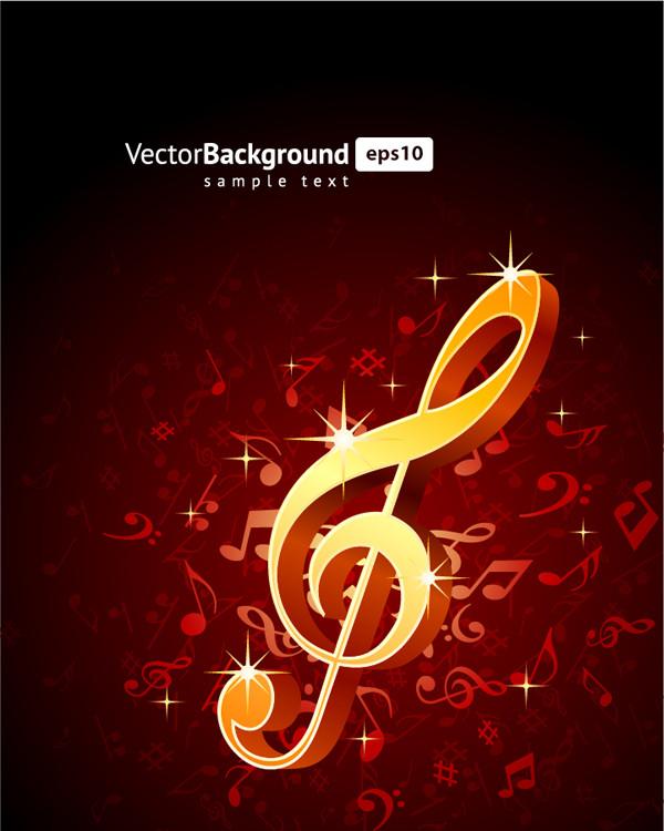 金色の音符の背景 golden musical notes