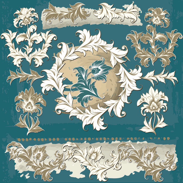 影付き花のシルエット素材 shading flower patterns textures