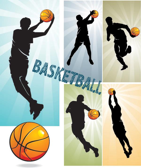 バスケットボール選手のシルエット basketball silhouette character vector3