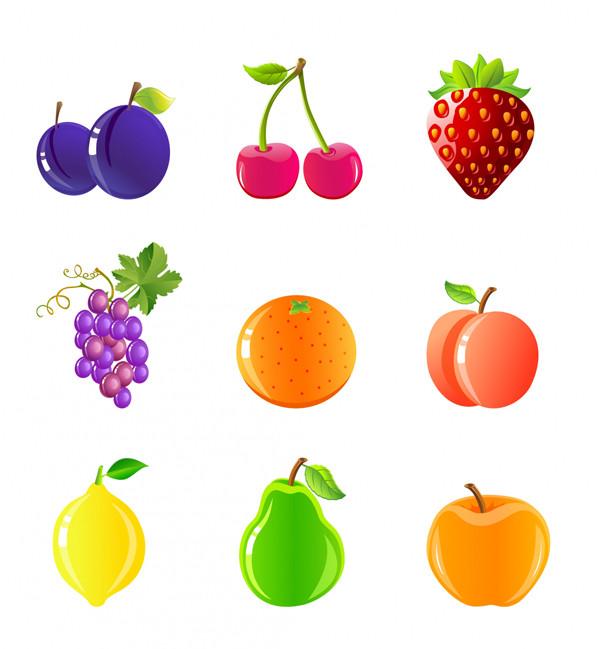 光沢あるフルーツ アイコン Fruits and berries icon set