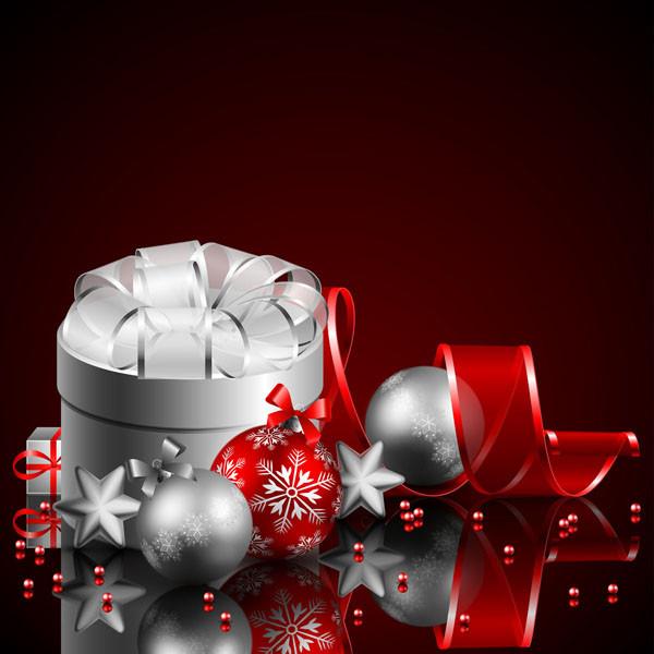 クリスマス ボールとギフト ボックス christmas gift box with ball vector3