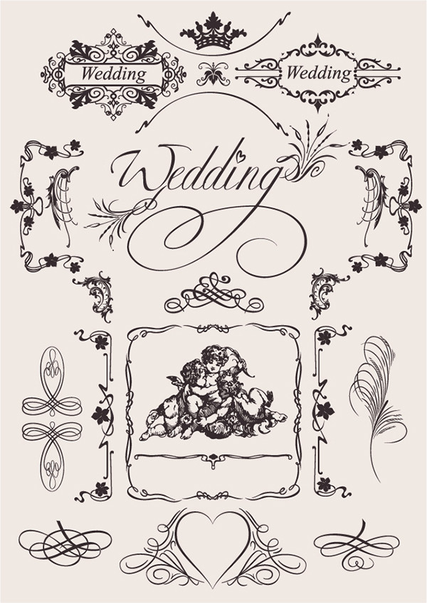 結婚式の修飾素材 europeanstyle wedding pattern