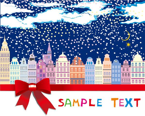 雪景色の街並みにリボンの背景 cartoon christmas house background