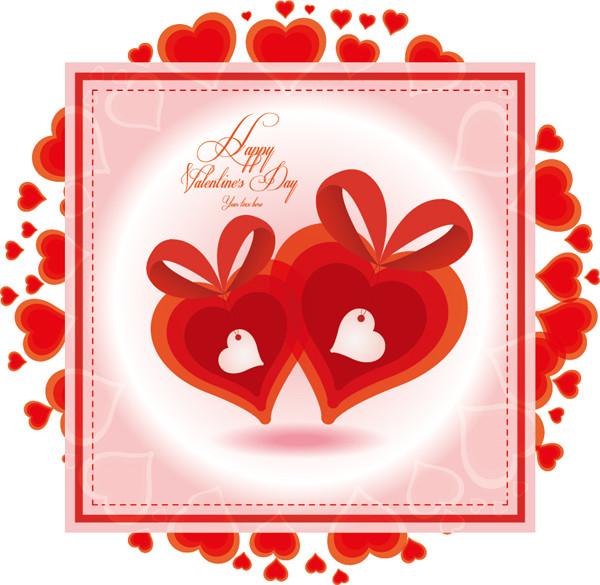 ハッピー バレンタインデー ハートのカード Happy Valentine's Day heart-shaped card