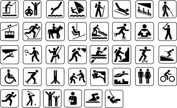 スポーツ関連の看板マークデザイン Silhouettes Sport Man Signs