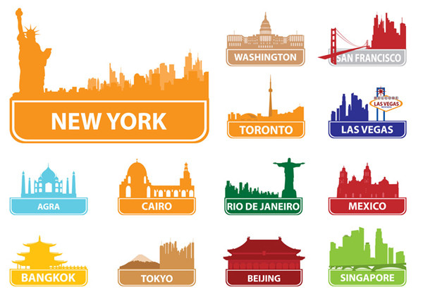 有名都市の建物を描いたシルエット the worldfamous city building silhouette