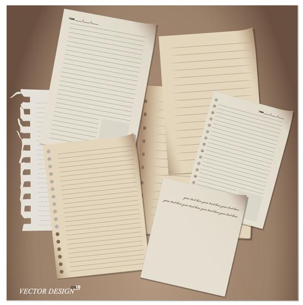レトロなノート用紙 Retro stationery paper vector