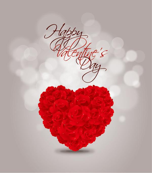 薔薇の花びらでハートを型どった背景 Valentine's Day Rose heart vector Graphcis