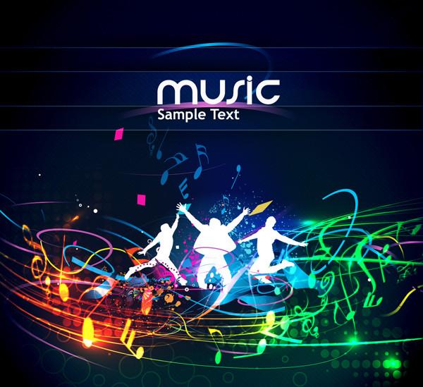 音楽を楽しむ人々のシルエット trend of musical elements background