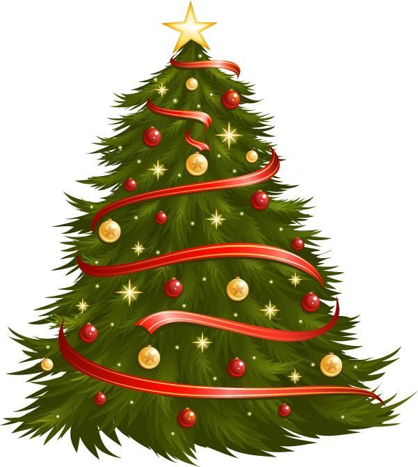 飾り付けたクリスマス・ツリー christmas tree vector