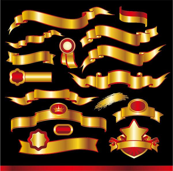 黄金と真紅の豪華なリボン golden ribbons vector